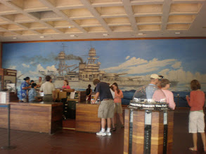 Photo: mural of the USS Arizona in the visitor's center