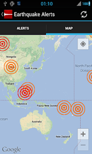 Earthquake Alerts Tracker Screenshot