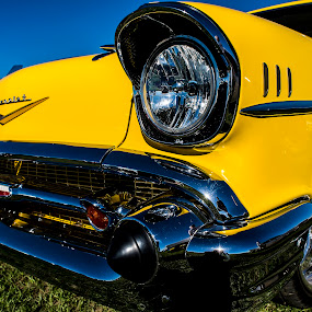 Classy  by Christian Wicklein - Transportation Automobiles ( car, chevrolet, headlights, chrome, wheels, yellow, chevy )