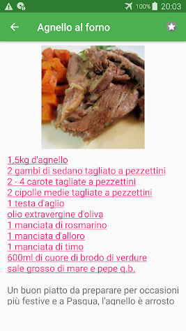 Al forno ricette di cucina gratis in italiano. Screenshot