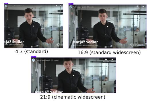 Primer različnih velikosi prikaza video posnetka.
