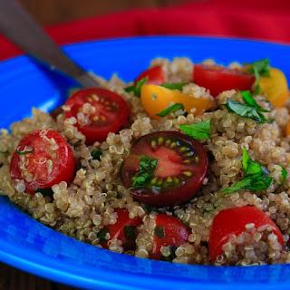 Tomato, Basil, and Garlic Quinoa Salad.