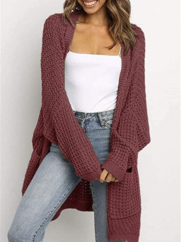 Simplee Women's Long Sleeve Open Front Waffle Knit Cardigan Sweaters  Oversized Knit Jacket Coats with Pocket (4-6 Cherry Red) at Amazon Women's  Clothing store