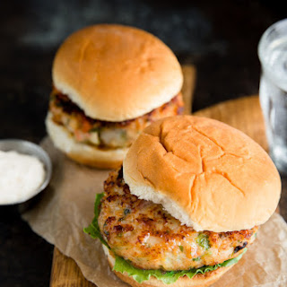 Shrimp Burgers with Bacon and Mozzarella.