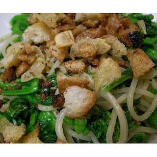 Spaghetti With Broccoli Rabe, Toasted Garlic and Bread Crumbs.