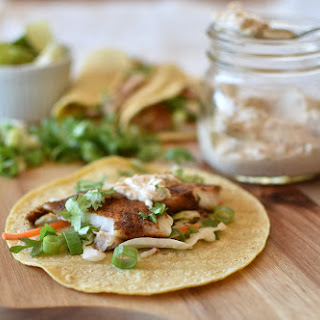 Fish Tacos with Chipotle Crema.