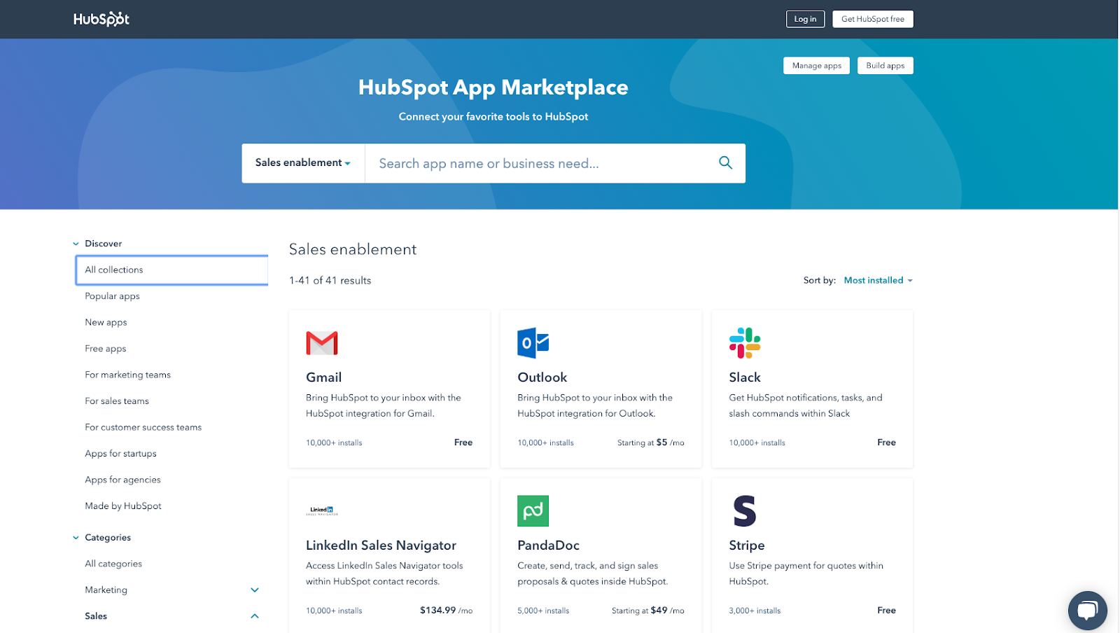 A screenshot of the HubSpot App Marketplace showing the top sales enablement apps: Gmail, Outlook, Slack, LinkedIn Sales Navigator, PandaDoc and Stripe.