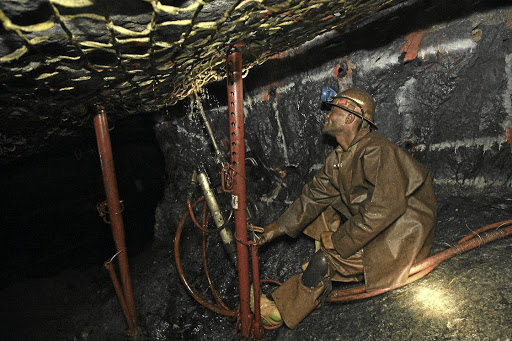 A miner drills at Lonmin's Saffy platinum mine. Picture: SUNDAY TIMES