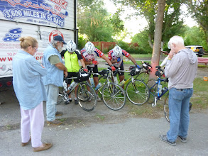 Photo: Day 19 Dubois to Riverton 79 miles 1410' climbing: Before leaving for Casper, Jim asks Merlin to Pray for us. From Left Doreen, Merlin