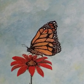 Monarch by Rhonda Lee - Painting All Painting ( beautiful, pretty, painting, nature, butterfly, rokinronda, unique, monarch, flower )