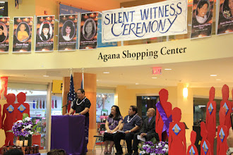 Photo: Cynthia Cabot of the Guam Coalition Against Sexual and Family Violence with welcoming remarks.