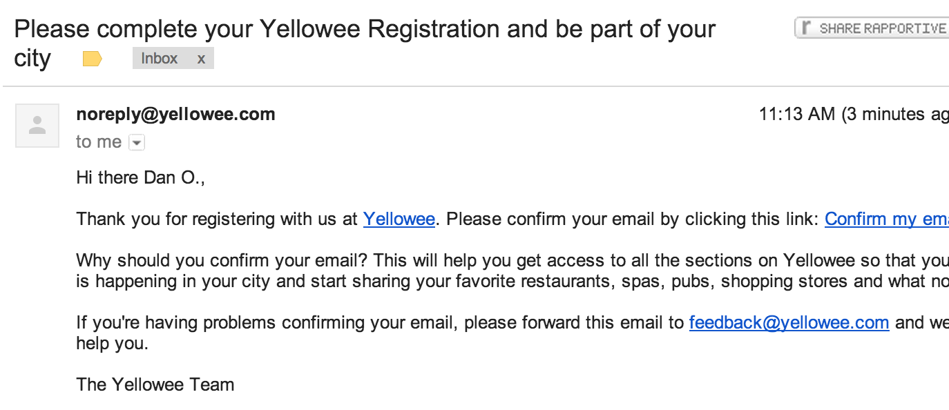 yellowee email confirmation