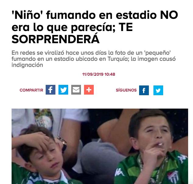 Ejemplos de clickbait: «Niño fumando en estadio no era lo que parecía»