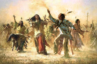Photo: Lakota Ghost Dance  The Ghost Dance religion (or movement) was a last vestage of an Amerindian tradition in a continuum that had begun in North America over 15,000 years ago. It was an attempt to answer the subjugation of Native Americans by the U.S. government by revitalizing traditional culture and to find a way to face increasing poverty, hunger, and disease, all representing the reservation life of the Native Americans in the late nineteenth century. The Ghost Dance originated among the Paiute Indians around 1870, however, the tide of the movement came in 1889 with a Paiute shaman Wovoka (Jack Wilson). Wovoka had a vision during a sun eclipse in 1889. In this vision he saw the second coming of Christ and received warning about the evils of white man. The messianic religion promised an apocalypse that would destroy the earth and the white man - then the earth would be restored to the Native Americans along with the return of the buffalo. Artwork: Howard Terpning more: Mrs. Z. A. Parker, description of a Ghost Dance observed on White Clay creek at Pine Ridge reservation, Dakota Territory, June 20, 1890. http://www.pbs.org/weta/thewest/resources/archives/eight/gddescrp.htm