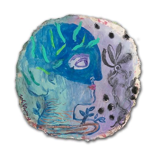 un-jardin-d-herbes-folles-sophie-lormeau-artiste-peintre-femme-art-contemporain-singulier-figuratif-abstrait-mixte-papier-magazine-brut-upcycling-portrait-bleu-fleurir-adagp-2020-paris-OMBRE-BD-©
