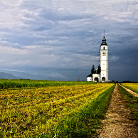 curch on the field by Dominik Konjedic - Landscapes Prairies, Meadows & Fields ( field, curch on the field, on the field, curch )