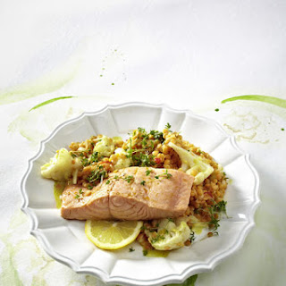Steamed Salmon with Spicy Red Lentil and Cauliflower Salad.