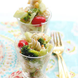 Cold Pasta Salad With Italian Dressing.