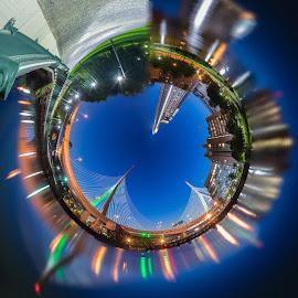 TinyPlanet Boson's Zakim Bridge by Paul Gibson - Digital Art Places ( planet, boston, digital art, night, bridge,  )