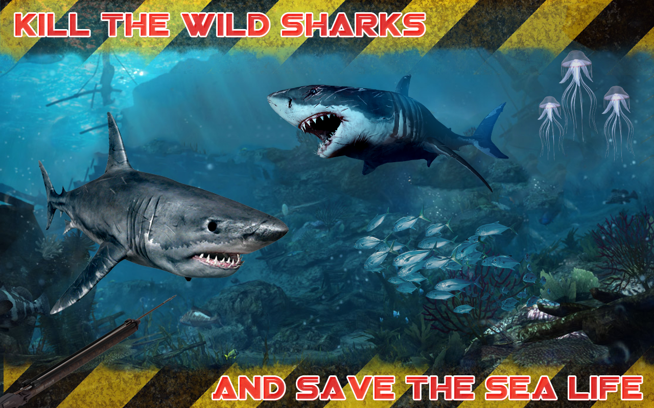 Wild shark fish hunting game android apps on google play for Shark fishing games