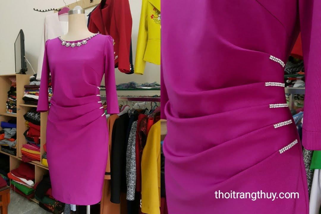 Váy dự tiệc xếp ly eo màu hồng sen đính hạt V496 Thời Trang Thủy