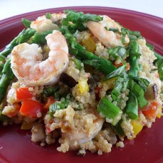 Quinoa Risotto w/Shrimp, Asparagus, Bell Pepper, Mushroom, Lemon & Basil