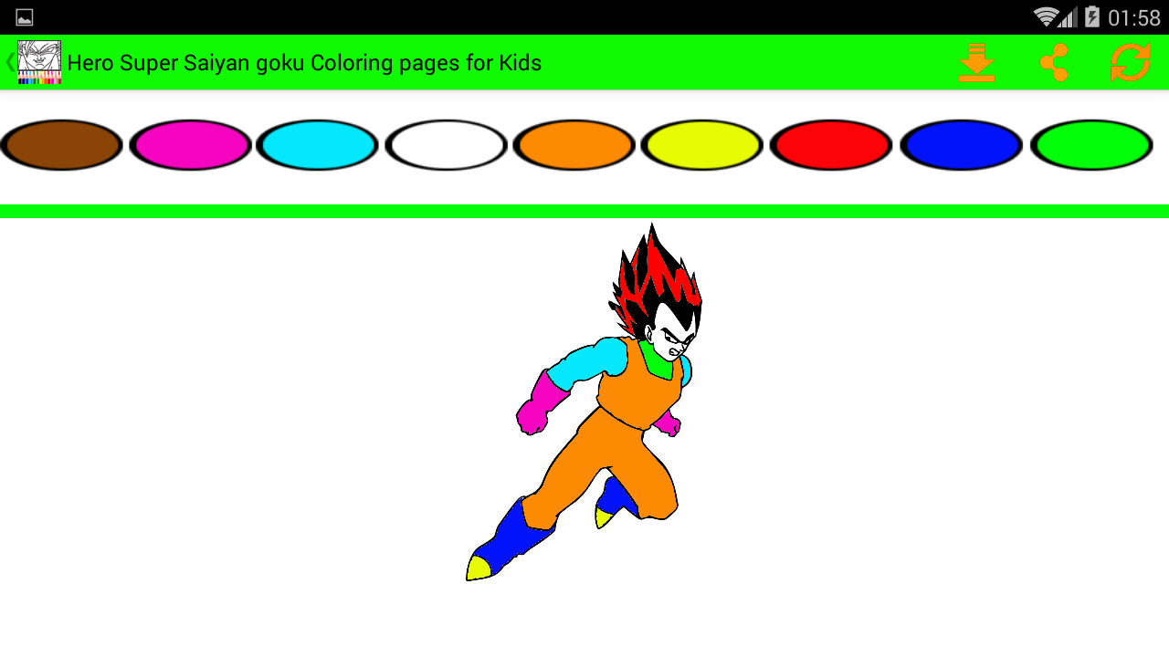 hero super saiyan goku coloring pages for kids screenshot - Super Saiyan Goku Coloring Pages