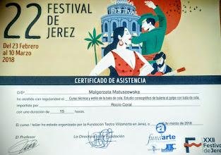 Photo: XXII Festival Flamenco Jerez 2018 rok Kurs techniki i stylu oraz choreografii buleria al golpe z bata de cola u prof. Rocio Coral (15 godzin)
