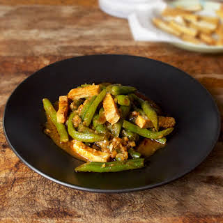 Tofu Green Beans With Red Curry Sauce.