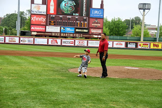 Photo: Luis Alicea throws out the ceremonial first pitch before the start of the FSU-Notre Dame Double Header on Sunday of the baseball alumni reunion weekend.