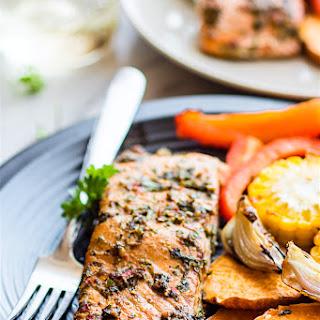 Easy Sheet Pan Jerk Salmon with Veggies