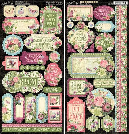 Graphic 45 Cardstock Stickers 12X12 - Bloom UTGÅENDE