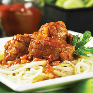 Hungarian Pork Stew with Kohlrabi Noodles.