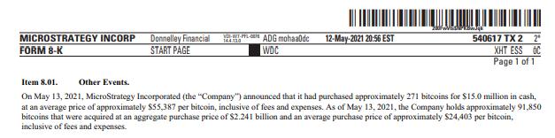 Documento oficial indicando a compra de BTC pela Microstretegy