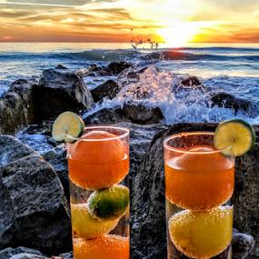{ Sunset Fruit drinks ~ On The Rocks } by Jeffrey Lee - Food & Drink Fruits & Vegetables ( { sunset fruit drinks ~ on the rocks } )