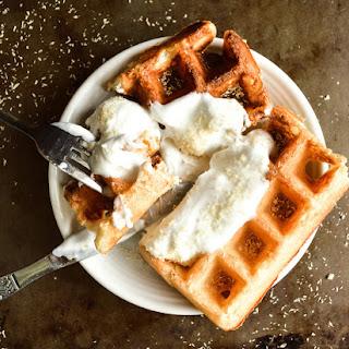 Coconut Cream Pie Protein Waffles {Vegan}