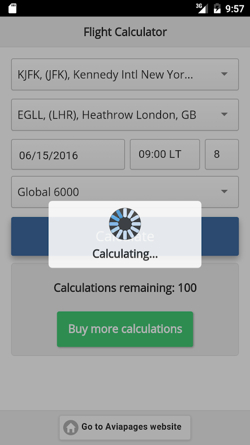 Aviapages Flight Calculator- screenshot