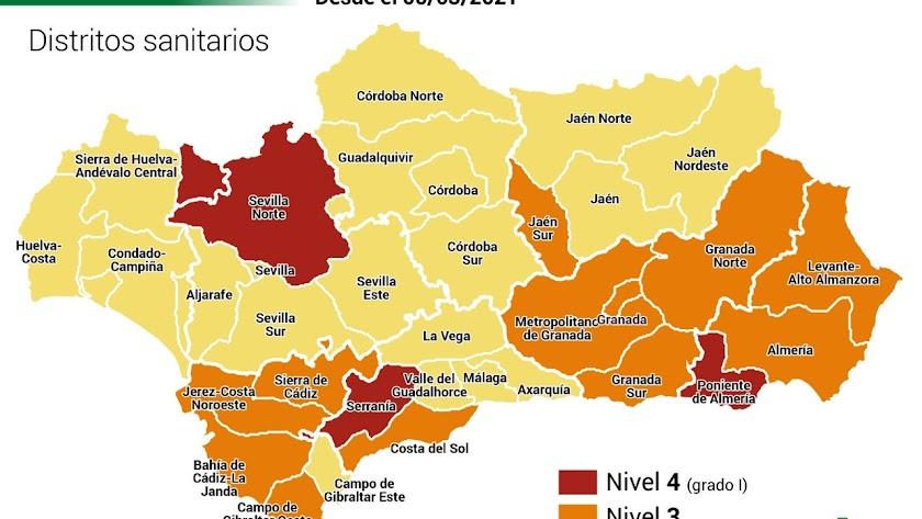 Situación actual de restricciones en los distritos sanitarios andaluces.