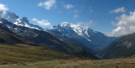 Photo: The view back is magnificent. Sadly, we must say goodbye to Mt. Blanc. We will not see it again.