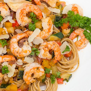 Pasta with Shrimp and Wine Sauce.