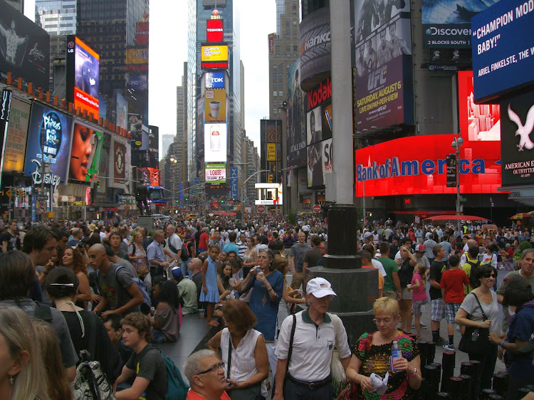 Times Square, New York, the US, packed before the pandemic. Picture: KATY CHANCE