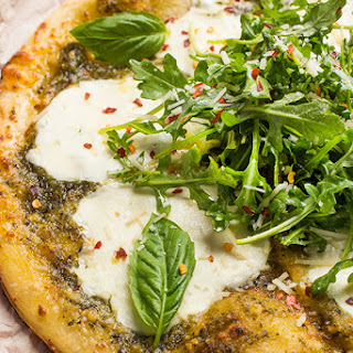 Grilled Pizza with Pesto and Mozzarella