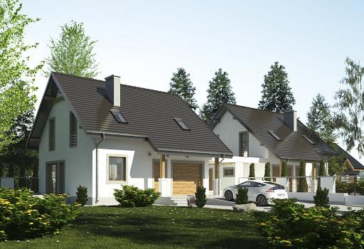 projekt Turkawka z garażem i wiatą bliźniak A1-BL