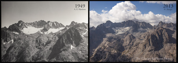Photo: Palisade Glacier Station: Sky Haven Source: 1949 - Glaciers of the American West 2013 - The Glacier RePhoto Project