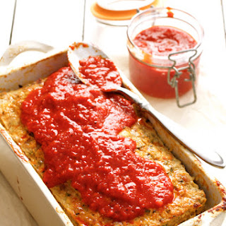Layered Turkey Meatloaf with Roasted Red Pepper Glaze.
