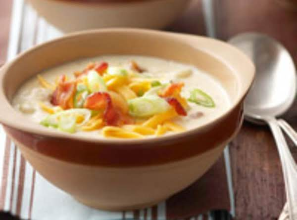 This Soup Has A Nice Creamy Base And Topped Off With Crispy Bacon & Shredded Cheddar!