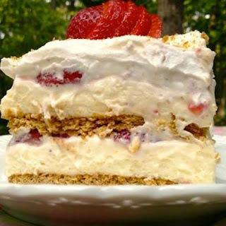 STRAWBERRY CREAM CHEESE ICEBOX CAKE.