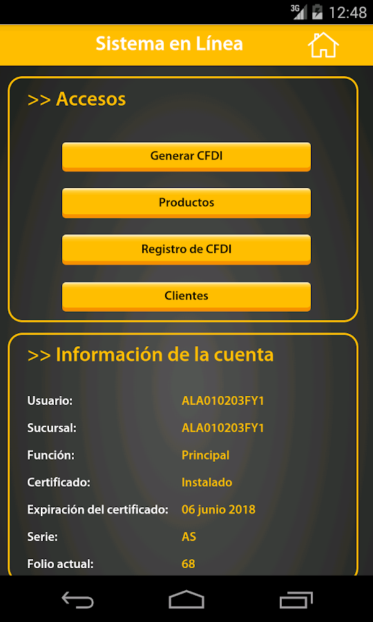 FactureYA CFDI Móvil: captura de pantalla