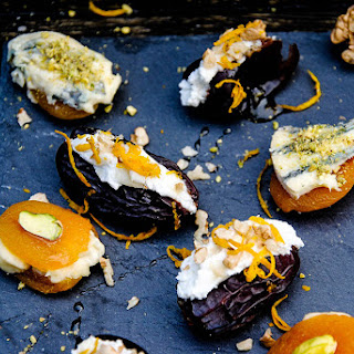 Goats' Cheese Stuffed Dates And Blue Cheese Apricot Bites.