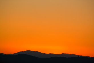 Photo: Right after the sunset, the entire sky turns orange.